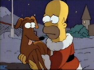 Nel primo episodio Homer trova Piccolo aiutante di Babbo Natale appena abbandonato, e decide di portarlo a casa con sé