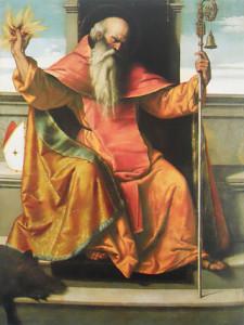 Il Santo in un olio su tela del Moretto, databile al 1530-1534 e conservato nel santuario della Madonna della Neve di Auro, in provincia di Brescia