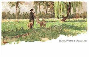 Verdi in un prato con i suoi cani (Leopoldo Metlicovitz, 1901, riproduzione fotografica)