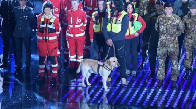 Apertura con la coda per il Festival di Sanremo: c'è anche Corto tra i soccorritori di Amatrice