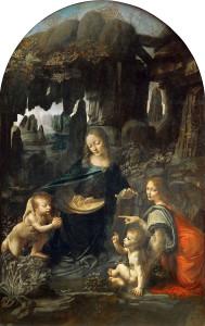 La Vergine delle Rocce di Leonardo nella versione, la prima, conservata al Louvre. Una seconda versione si trova invece alla National Gallery di Londra