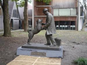Hachiko e Ueno nella statua davanti all'università di Tokyo