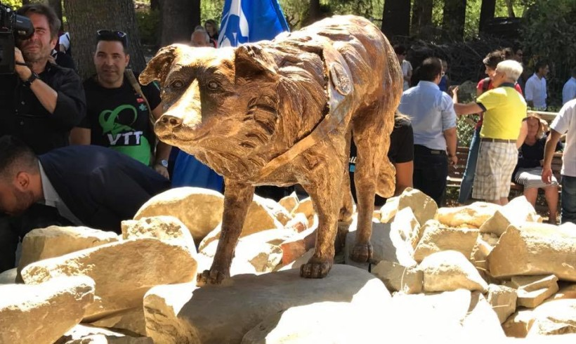 Ad Amatrice una statua per Camilla, cane simbolo del post terremoto