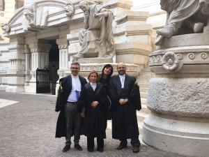Il team di avvocati davanti al cosiddetto Palazzaccio a Roma, sede della Cassazione