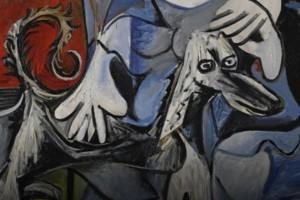 """Il cane Kaboul in un dettaglio di """"La femme au chien"""" di Picasso (1962)"""